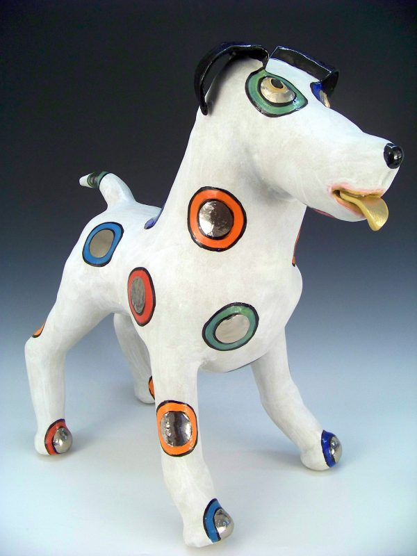 Spotty dog sculpture
