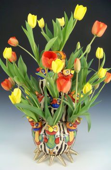 Tiered tulip vase with birds