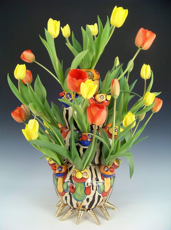 Tiered tulip vase with birds